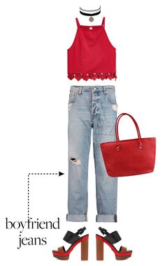"""""""boyfriend jeans"""" by sebi86 ❤ liked on Polyvore featuring McQ by Alexander McQueen, Michael Kors, Charlotte Russe and boyfriendjeans"""