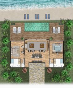 Sims House Plans, Beach House Plans, Small House Plans, House Floor Plans, Small Villa, Casas The Sims 4, Hotel Room Design, Villa Plan, Container House Plans