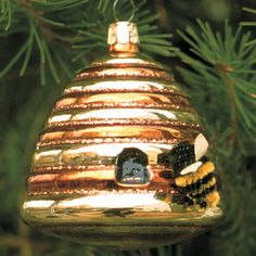 beehive blown glass christmas ornament $6.95