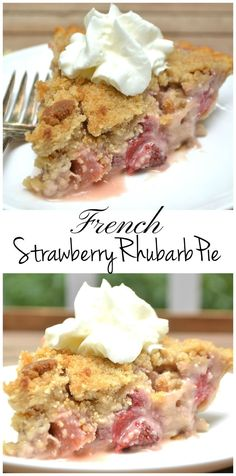 A sweet & simple French Strawberry Rhubarb Pie with a buttery brown sugar crumb topping   www.craftycookingmama.com