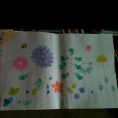 Daycare Crafts, Crafts For Kids, Square One Art, Fingerprint Art, Finger Print, Girl Scout Crafts, Footprint Art, Handprint Art, First Art