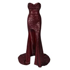 Puttin' On The Glitz Burgundy Wine Red Sequin Strapless Split Front... (605 RON) ❤ liked on Polyvore featuring dresses, strapless sequin dress, burgundy strapless dress, strapless dresses, crop dress and red maxi dress
