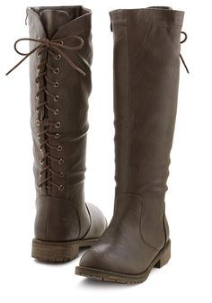 Denver on My Mind Boot. These tall brown boots make everyday feel like a crisp mountain morning. #brown #modcloth