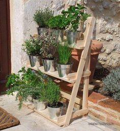 Wooden plant shelf