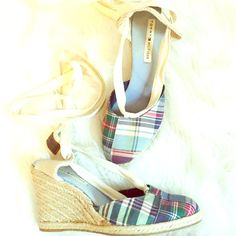 Tommy Hilfiger plaid wedges These are so cute!! Not super high easy to walk in. Straps cross cross and ties at ankles! Tommy Hilfiger Shoes Wedges
