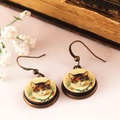 CAT Earrings Cat Jewelry Cat Lover Gift WOOD Earrings Cat by dauz