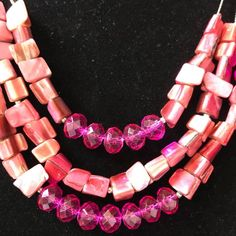 "Pink Beaded Triple Strand Necklace Faceted Rondelles Pink Shell Nugget Beads 16"" #Unbranded #StrandString"
