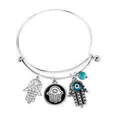 Elya Hamsa Charm with Evil Eye Bangle Bracelet - Silver, Women's