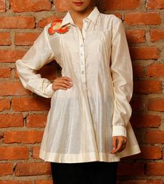 Cream Chanderi Silk Tunic with Embroidered Motif