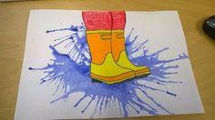 Kunst in der Grundschule: Pfütze You are in the right place about kindergarten art projects winter H Club D'art, Art Club, Art 2nd Grade, Arte Elemental, Blow Paint, Classe D'art, Spring Art Projects, Spring Crafts, Kindergarten Art Projects