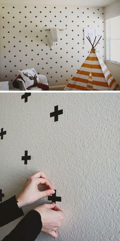 mommo design: 9 DIY IDEAS FOR KIDS ROOM -- Including tape designs instead of wall paper (time-consuming, but easy and removable)