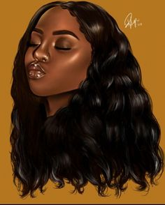 Drawing Hairstyle Middle Leng Hair Wigs Curly Hairstyle Black Color Synthetic Lace Front Wigs For Women High Temperature Fiber Average Size - Black Love Art, Black Girl Art, My Black Is Beautiful, Color Black, African American Art, African Art, Drawings Of Black Girls, Girl Drawings, Black Girl Cartoon