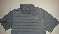 Mens NIKE GOLF Polo DRI FIT Shirt Performance Gray Silver Black Stripe  SMALL