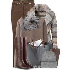 Neutrals go with neutrals perfectly. I love browns and greys together. The browns and greys in this outfit are cool and are perfect for a soft summer and cool summer. In fact, I'd call the color of the top taupe.If you have warm undertones, choose browns that have golden tones and warm greys.