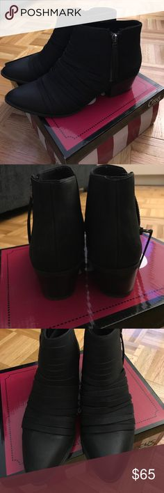 "Circus by Sam Edelman black leather booties Circus by Sam Edelman black leather booties. The front has black leather straps all across. Wedge heel is about 1.5"". Only worn once. Box is included. Circus by Sam Edelman Shoes Ankle Boots & Booties"