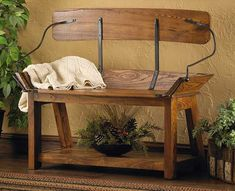 Buckboard Bench - Open Back Style designed from an Wagon Bench Furniture Makeover, Diy Furniture, Entryway Tables, Entryway Ideas, Foyer, Iron Bench, Mountain Decor, Horse And Buggy, Pallet Art