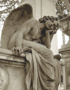 Angel Statue - The Angel of the Night by Giulio Monteverde, Primo Zonca grave, Quadriportico, Verano Monumental Cemetery, Rome Calling All Angels, Angels Among Us, Angels And Demons, Cemetery Angels, Cemetery Statues, Cemetery Art, Highgate Cemetery, Tattoo Religion, Statue Ange