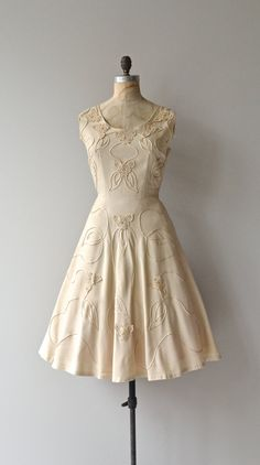 Amande Gâteau dress vintage 1950s dress linen 50s by DearGolden