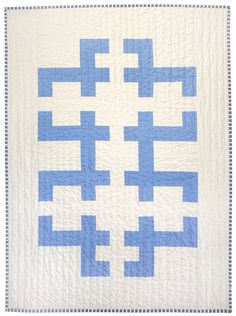 Graphic Modern Baby Quilt - Blue Keys