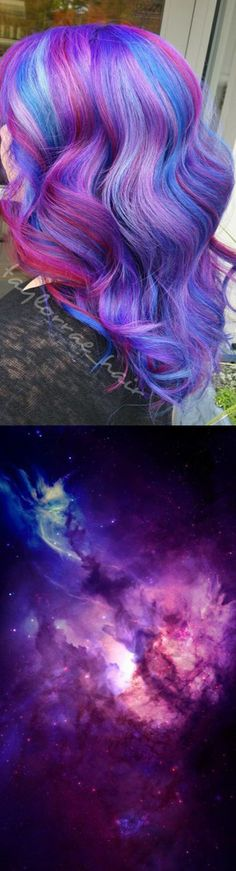 Galaxy Hair - not rainbow hair, blends tones of blue, purple, green and sometimes silver. The process can take up to 4 hours and creates a variety of hues fading into one another.