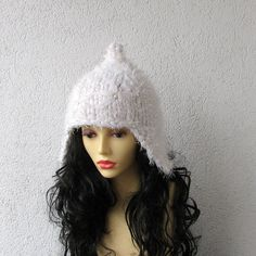 WHITE Hat Slouchy Beanie  Knit Hat Women Slouchy by AlbadoFashion, $32.00