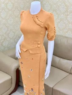 Traditional Dresses Designs, Designs For Dresses, Traditional Outfits, Semi Casual Dresses, Party Wear, Party Dress, Myanmar Dress Design, Peplum Dress, Dress Up
