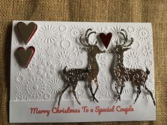 Excited to share this item from my #etsy shop: Christmas Card - Reindeer Special Couple Love Hearts Handmade Silver embossed Parents Grandparents White Snowflake, Snowflakes, Christmas Cards, Merry Christmas, Grandparents, Love Heart, Handmade Silver, Reindeer, Moose Art
