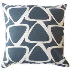 "Corrigan Studio Ann Geometric Down Filled 100% Cotton Throw Pillow Size: 20"" x 20"", Color: Blue"