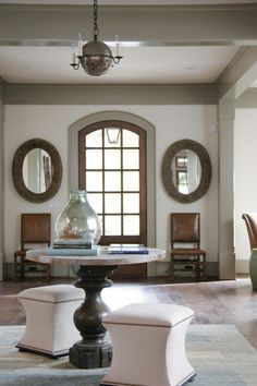 deep grey trim accents throughout the room-- a little rustic charm, but still elegant