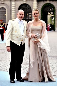 Royalty Daily, Favorite Outfits of Princess Charlene: Prince Albert and Princess Charlene (then Charlene Wittstock) at the wedding of Crown Princess Victoria of Sweden, 2010