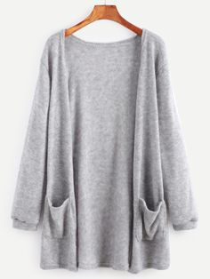 Elastic Cuff Cardigan With Pockets Only US$13.00