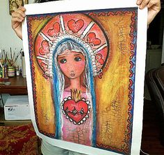 Mary and her Sacred Heart  - Large Print on Fabric from Original Painting (16 x 20 inches) by FLOR LARIOS. $45.00, via Etsy.