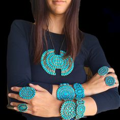 Turquoise rings and cuffs