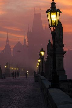 I like this photo of the charles bridge in prague, czech republic because of how the fog and the sunrise go together along with the perspective. I also used to live in Prague so. Pont Charles, Charles Bridge, Charles River, Budapest, Places To Travel, Places To See, Places Around The World, Around The Worlds, Wonderful Places