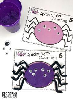Spider Eyes Counting: fun sensory math. - October Morning Tubs