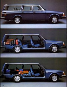 VOLVO 240 Wagon. Fabulous. This is why I bought mine. Comes with a 6 ft enclosed truck bed for hauling art. Or for camping in.