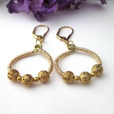 Gold Wire Wrapped Hoop Earrings With Filigree Beads Leverback | TheSingingBeader - Jewelry on ArtFire