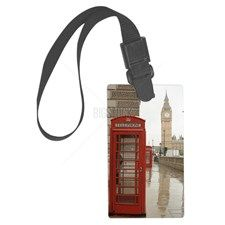 London Red Telephone Booth Large Luggage Tag for