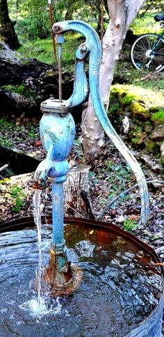unique home fountains Hand Made Unique OneOfAKind Rustic Water Fountain The Blue Pump Water Features In The Garden, Garden Features, Home Fountain, Fountain Ideas, Old Water Pumps, Garden Water Fountains, Water Gardens, Water Well, Blue Pumps