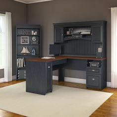 L-Shaped Executive Desk with Hutch and 5 Shelf Bookcase