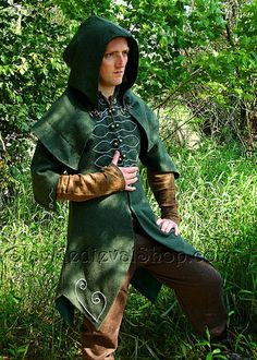 Forest Ranger - Fantasy Coat with hood - beautiful LARP coat made for order. For Elves or ranger
