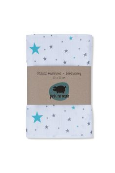 Swaddle muslin+bamboo, stars, grey+turquoise www.pinknomore.pl