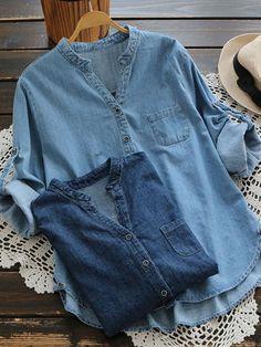 Casual Denim Pure Color Irregular Long Sleeve Blouse For Women Cheap - NewChic   US$52.48 US$102.88 -49% #Women #Tops #Fashion #Vintage #Tshirt #Shirt #Blouses