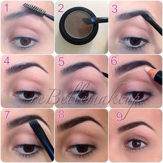 your eyebrows with the spooly end of the brush Dip the angled side in the powder shading underneath the highest point of your brow and create your your brow's tip filling the rest of tour brow Eyebrows On Fleek, Perfect Eyebrows, Eye Brows, Eyebrows Goals, Shape Eyebrows, Arched Eyebrows, Natural Eyebrows, Love Makeup, Makeup Tips