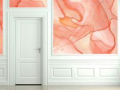 This is AMAZING!!!!!! Wow, I got chills. Hallway Foyer | Peach Color | Watercolor Pattern | Wallpaper Design | Black Crow Studios