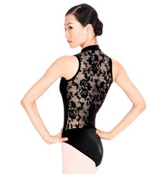Lace Back Tank Other features include flattering empire waist seaming, front bodice lining, and a ballet cut leg line. Modern and elegant, this mock turtleneck tank leotard features an exquisite lace back and a functional zipper front. Lace Leotard, Long Sleeve Leotard, Tutu, Ballet Clothes, Ballet Shoes, Dance Ballet, Ballet Class, Pullover Shirt, Leotard Fashion