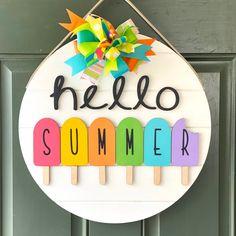 Wooden Door Signs, Front Door Signs, Wooden Door Hangers, Front Door Decor, Initial Door Hanger, Fall Door Hangers, Porch Signs, Front Porch, Summer Diy