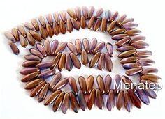 50 3x11mm Czech Glass Dagger Beads: Bronze Illusion - Vega Mix                                                                     Bronze Illusion - V
