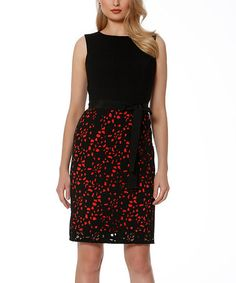 Look at this #zulilyfind! Black & Red Laser-Cut Overlay Belted Sleeveless Dress by NUE by Shani #zulilyfinds