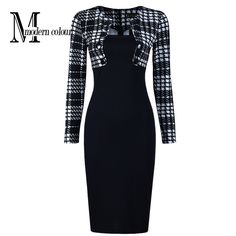 Find More Dresses Information about New Arrivals 2016 Women Office Dress Pencil Knee Length Dresses Fashion European Long Sleeve Plaid Patchwork Dresses Work Wear,High Quality wear work dresses,China wear backless dress Suppliers, Cheap dress with long train from Modern Colour  on Aliexpress.com